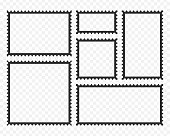Postage stamps template. Blank rectangle and square postage stamps