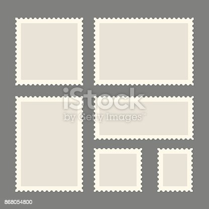 Postage stamps template. Blank rectangle and square postage stamps. Flat style modern vector illustration with retro colors. For for envelopes, postcards or letter retro style paper.