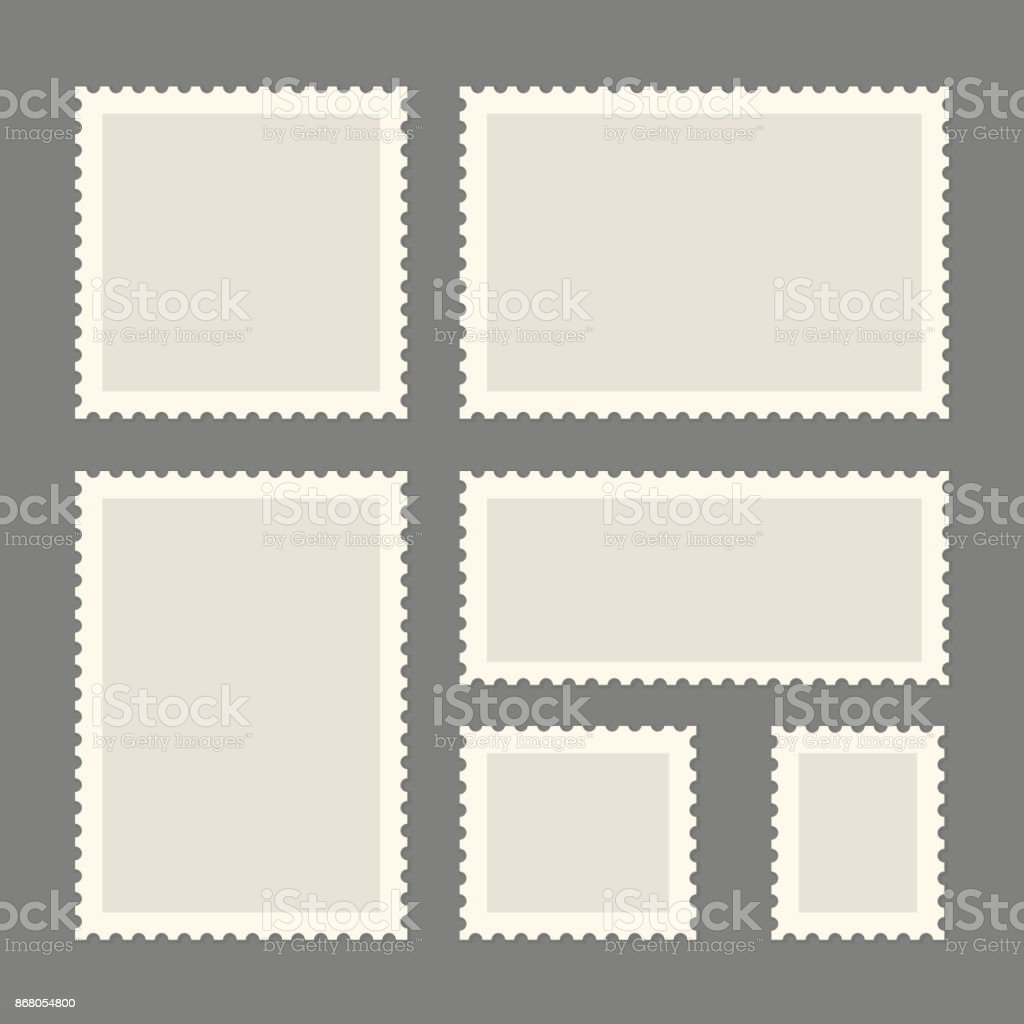 Postage stamps template vector art illustration