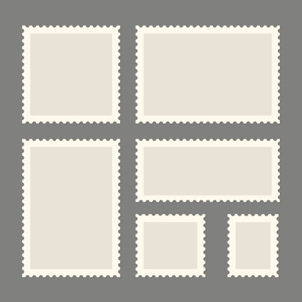 postage stamps template - postcard stock illustrations