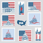 postage stamps set with american symbols statue of liberty, capitol building and white house