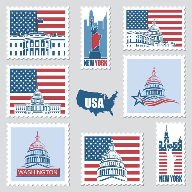 postage stamps with american symbols postage stamps set with american symbols statue of liberty, capitol building and white house postage stamp stock illustrations