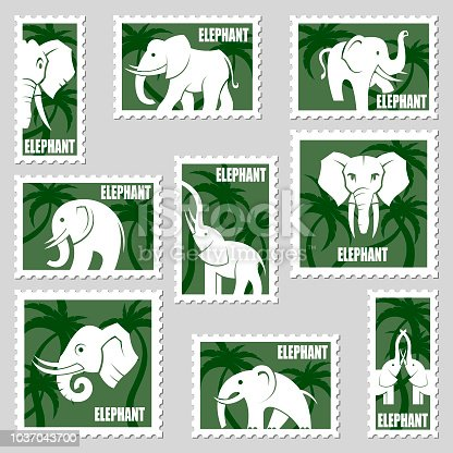 postage stamps collection with elephants and palms