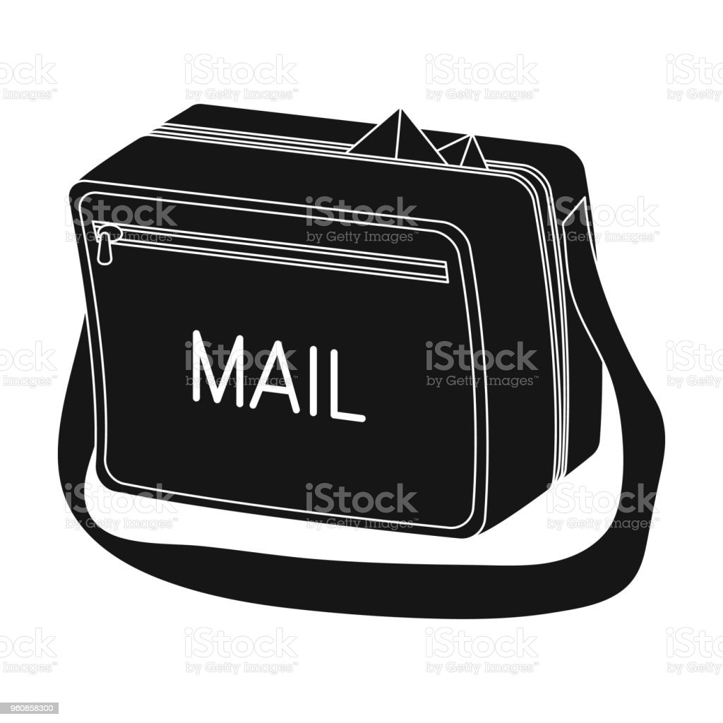 Postal Bagmail And Postman Single Icon In Black Style