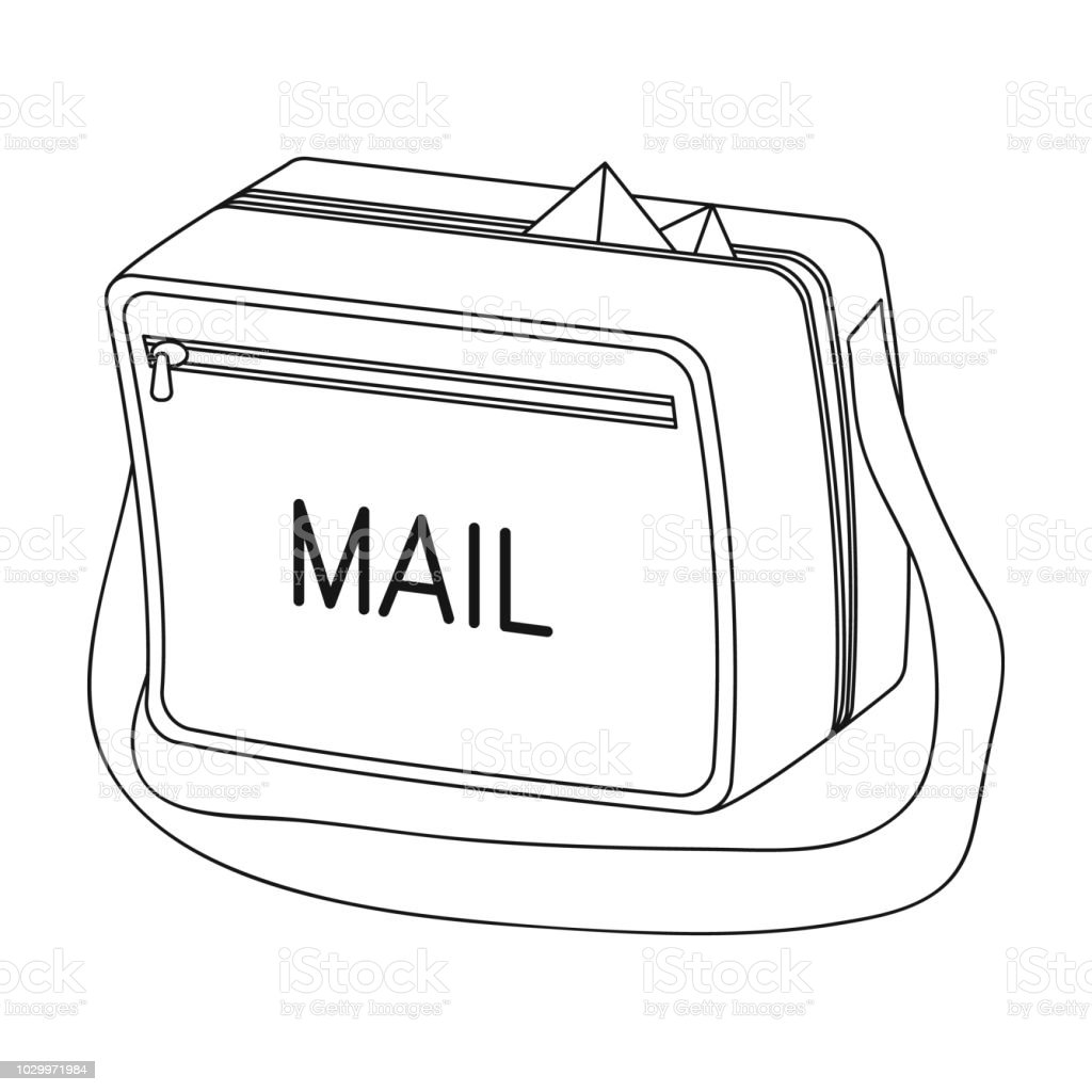 Postal Bagmail And Postman Single Icon In Outline Style