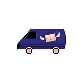 Postal delivery transportation service isolated on white background vector. Flat cartoon illustration of post transport - cargo minibus with symbol of envelope with wings. Courier and shipping symbol.