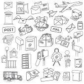Vector postal doodles set. Hand-drawn vector illustration.