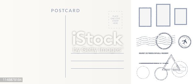Postal elements set: empty postcard back, postage stamps and cancel marks imprints