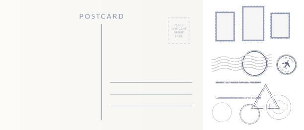 郵政元素集: 空明信片回, 郵票和解除標記印記。 - postcard 幅插畫檔、美工圖案、卡通及圖標