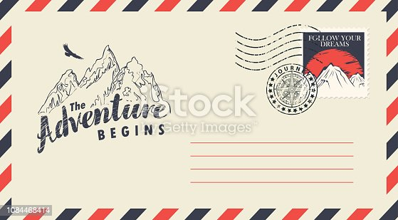 Postal envelope with postage stamp and postmark in retro style. Illustration on the theme of travel with the mountains, flying eagle and the inscription Adventure begins