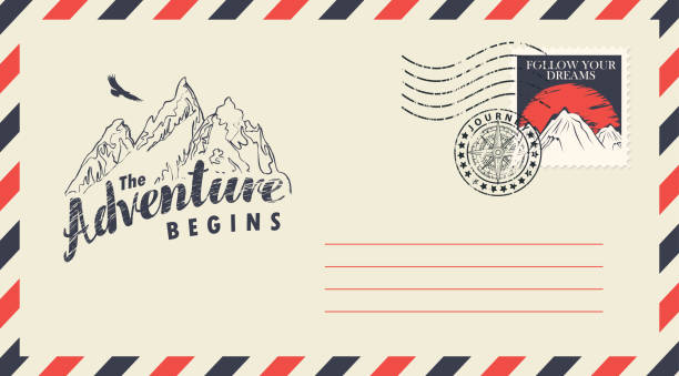 Postal envelope on the theme of travel with stamp Postal envelope with postage stamp and postmark in retro style. Illustration on the theme of travel with the mountains, flying eagle and the inscription Adventure begins travel agents stock illustrations