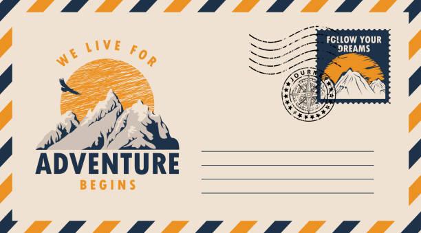 illustrazioni stock, clip art, cartoni animati e icone di tendenza di postal envelope on the theme of travel with stamp - negozio sci