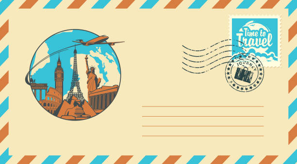 postal envelope with stamp on the theme of travel - travel destinations stock illustrations