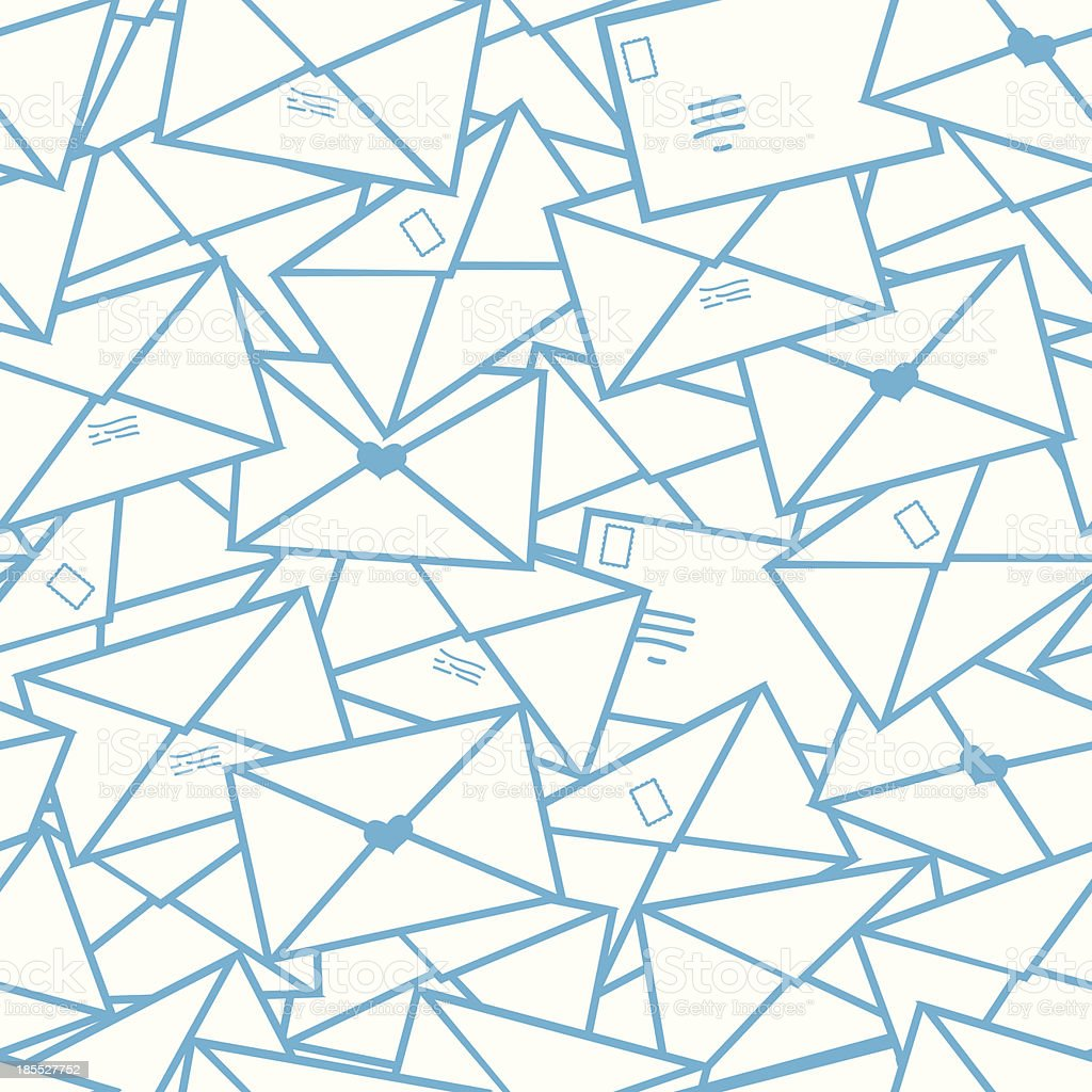 Postal letters envelopes line art seamless pattern background royalty-free stock vector art