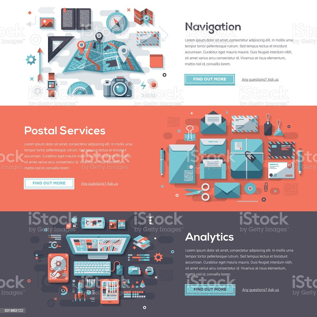 Postal Services Web Banner Set vector art illustration