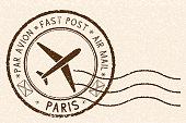 Postal stamp, round brown postmark with plane icon. Paris, France. Vector illustration