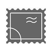 Postal stamp solid icon, delivery symbol, Paper retro post stamp vector sign on white background, postmark icon in glyph style for mobile concept and web design. Vector graphics