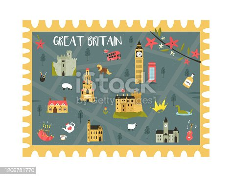 Postal stamp with United Kingdom map with landmarks and symbols. Vector illustration, travel design