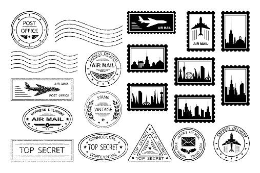 Postal stamps and postmarks