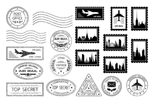 Postal stamps and postmarks Postal stamps and postmarks. Set of various postmarks and postage stamps with city silhouettes. Air mail, top secret, express delivery, post office.  Santa's Air Mail.  Isolation. Vector illustration postage stamp stock illustrations