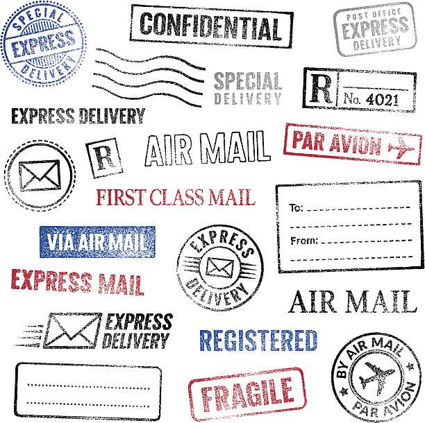 Postal stamps Vector image. Set of grunge postage stamps.  fragility stock illustrations