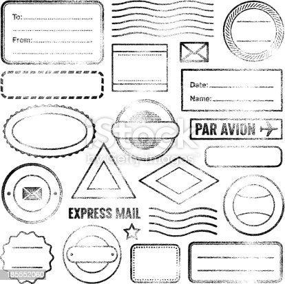 Vector image. Set of empty grunge rubber stamps.