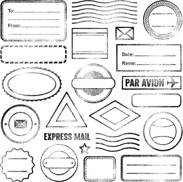 Postal stamps Vector image. Set of empty grunge rubber stamps.  postage stamp stock illustrations