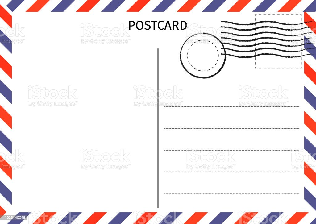 Postcard Air Mail Postal Card Illustration For Design Travel Card Design Postcard On White ...