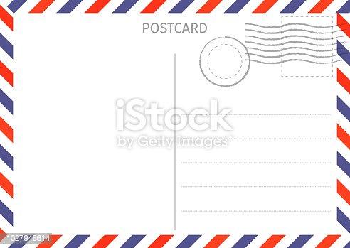 Postcard. Air Mail. Postal card illustration for design. Travel card design. Postcard on white background. Vector illustration.