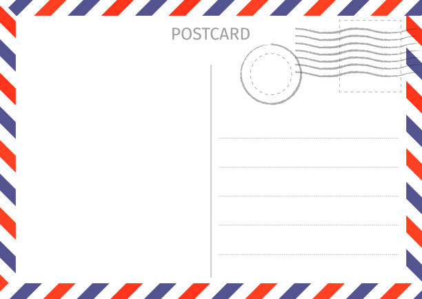 postcard. air mail. postal card illustration for design. travel card design. postcard on white background. - postcard stock illustrations