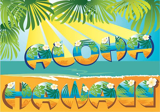 ilustrações de stock, clip art, desenhos animados e ícones de cartão postal aloha havai - lian empty