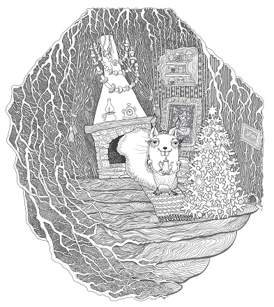 Postcard  Christmas greeting card, New Year party invitation. Coloring book page for children and adults, fantasy squirrel house in old fairy tale tree. Line art contour sketch. Tee-shirt print