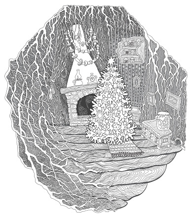 Postcard  Christmas greeting card, New Year party invitation. Coloring book page for children and adults, fantasy Hollow Tree House in fairy tale forest. Line art contour sketch. Tee-shirt print