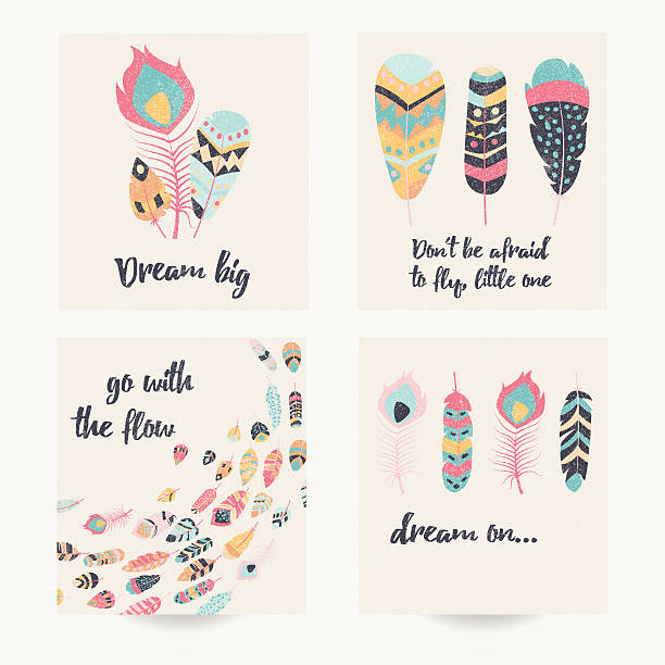 Postcard design with inspirational quote and bohemian colorful feathers vector art illustration