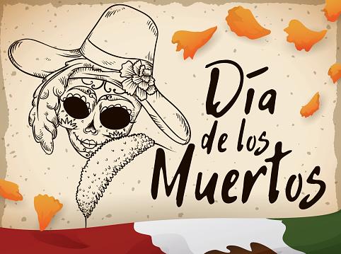 """Postcard for """"Día de Muertos"""" with Marigold Petals and Catrina"""