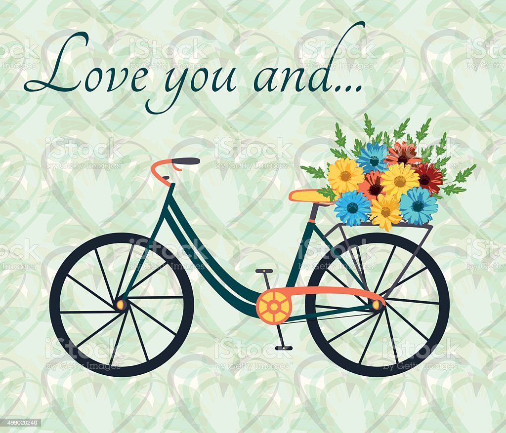 Postcard for person, who love bike and woman alike vector art illustration