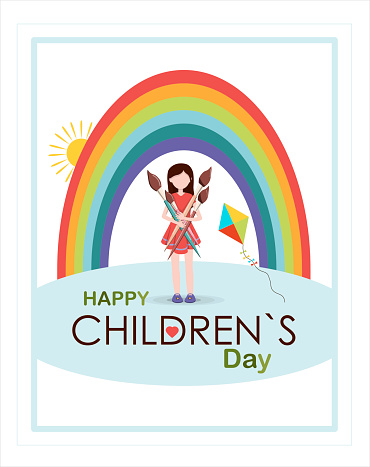 Postcard for the international children s day. Summer bright card with a girl and a rainbow. Happy childhood. Congratulation on a holiday, to school, to kindergarten.