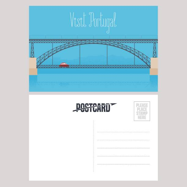 ilustrações de stock, clip art, desenhos animados e ícones de postcard from portugal with porto bridge vector illustration - douro