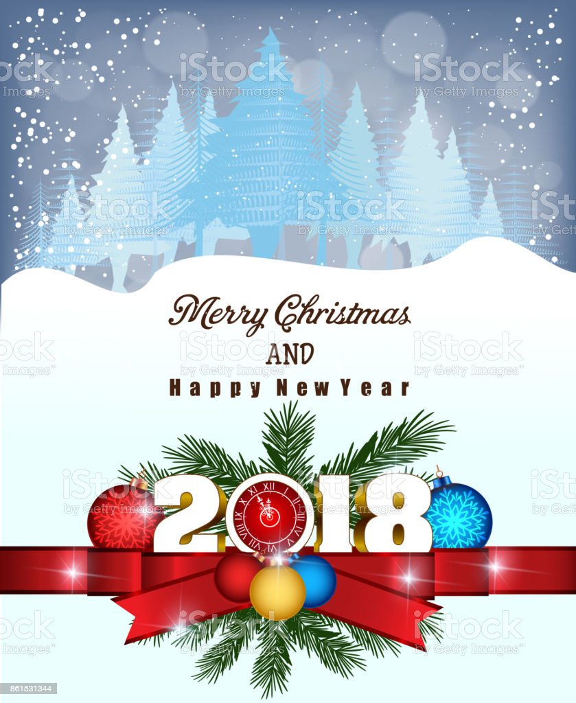 Postcard Happy New Year 2018 And Merry Christmas Stock Vector Art ...