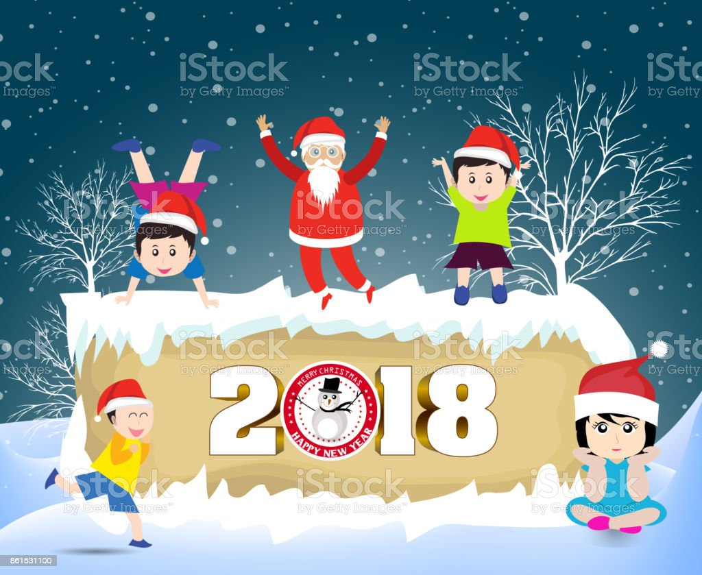 Carte De Noel Droles.Postcard Happy New Year 2018 And Merry Christmas With Funny Kids