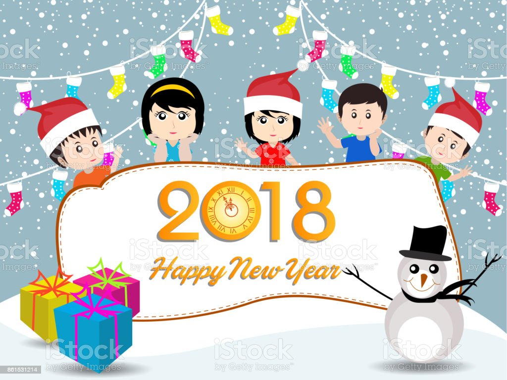 Postcard Happy New Year 2018 And Merry Christmas With Funny Kids  Royalty Free Postcard Happy