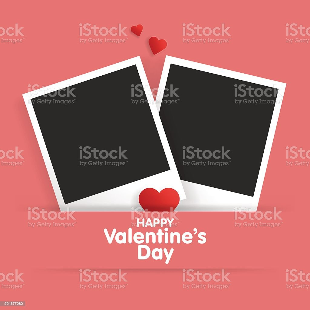 Postcard Happy Valentines Day With A Blank Template For Photo Stock ...