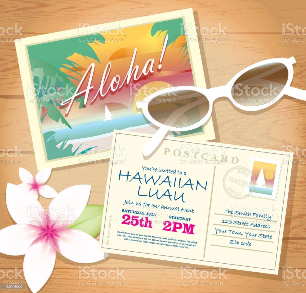 Ilustración de Tarjeta Postal Luau Hawaiano Diseño De Plantilla De ...