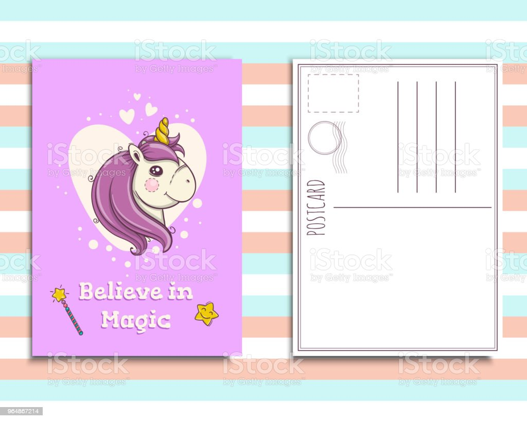 Postcard invitation template with cute unicorn portrait royalty-free postcard invitation template with cute unicorn portrait stock vector art & more images of animal