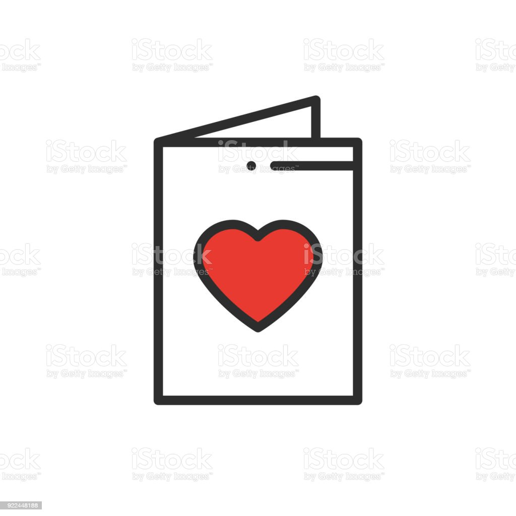 Postcard Line Icon Happy Valentine Day Sign And Symbol Love Couple