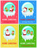 Postcard Merry Christmas Happy New Year Santa and Elf play hide-and-seek, dancing at retro music, sit with stars over head, hold wreath vector posters
