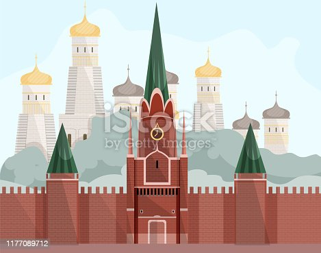 Moscow Red Square on Background Church with Domes. Vector Illustration. Tourism Development. Traveling Around World. Postcard Representing Country. Details and Landmarks Country. Unique Landscape.