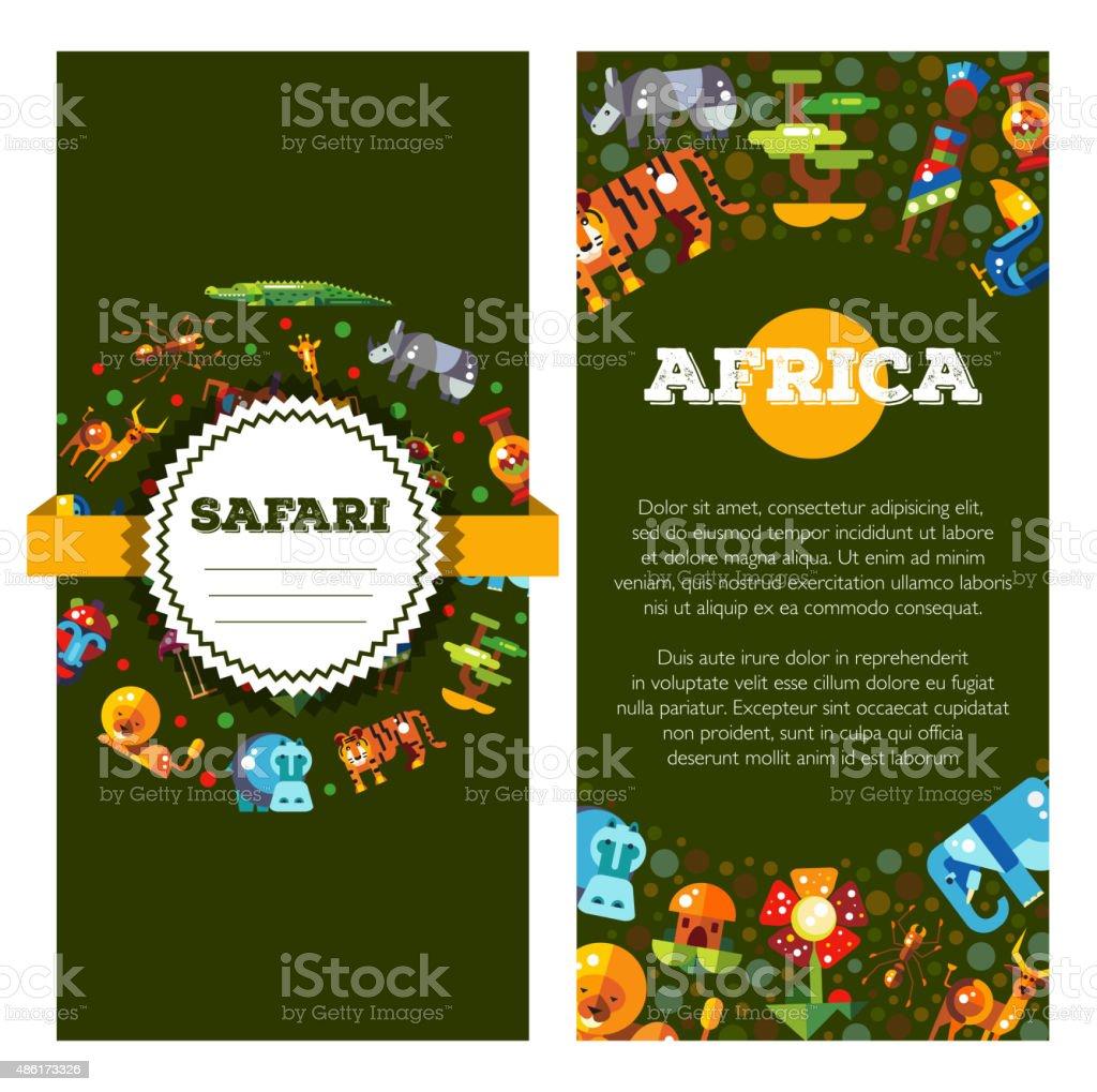 Cartolina di flat design e infografica elementi, icone africana con - illustrazione arte vettoriale