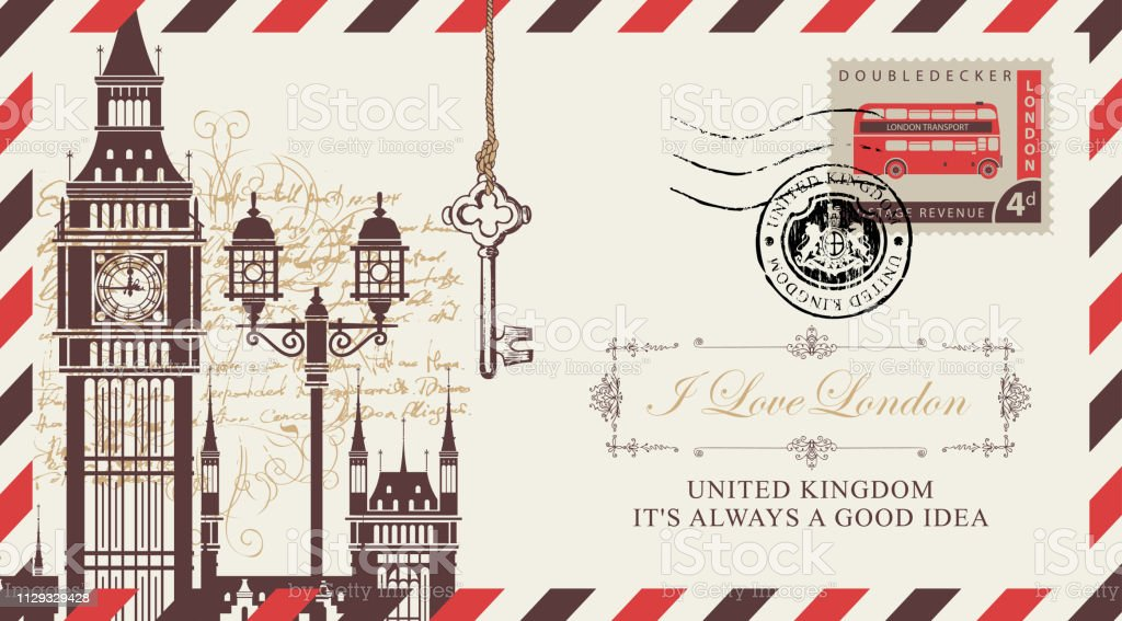 Postcard Or Envelope With Big Ben In London Stock
