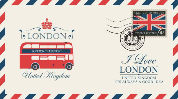 엽서나 봉투 런던 더블 데커 - 잉글랜드 문화 stock illustrations